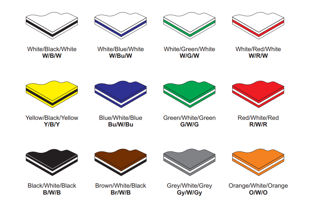 A picture showing all the different traffolyte colours available.