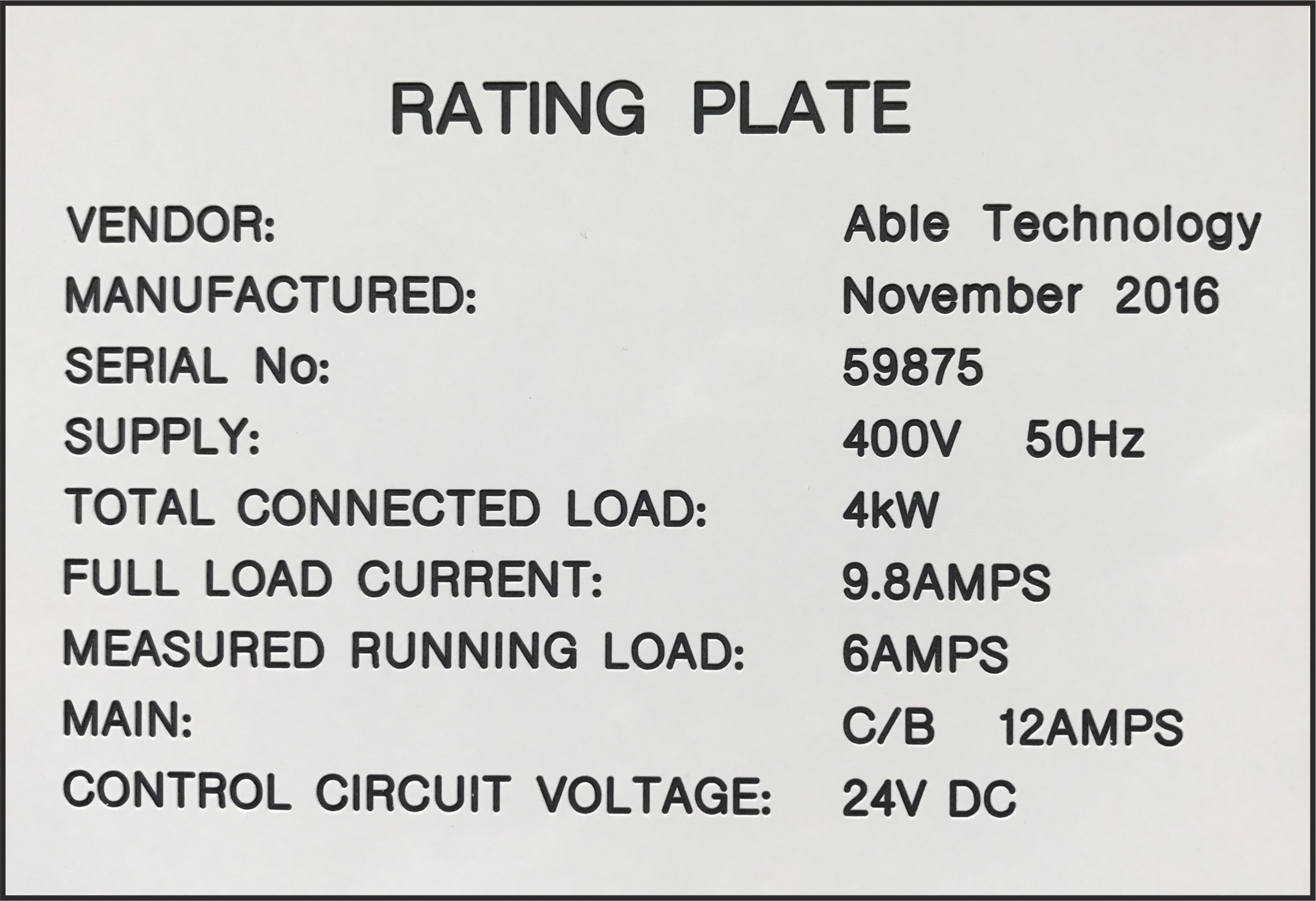 A Traffolyte Specification Label